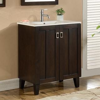 30-inch Single Sink Bathroom Vanity in Brown Finish