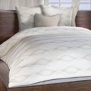 Chauran Linea Ivory Embroidered Duvet Cover