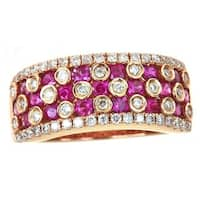 Anika and August 14k Rose Gold 1/2ct TDW Diamond and Hot Pink Ruby Ring (G-H, I1-I2)