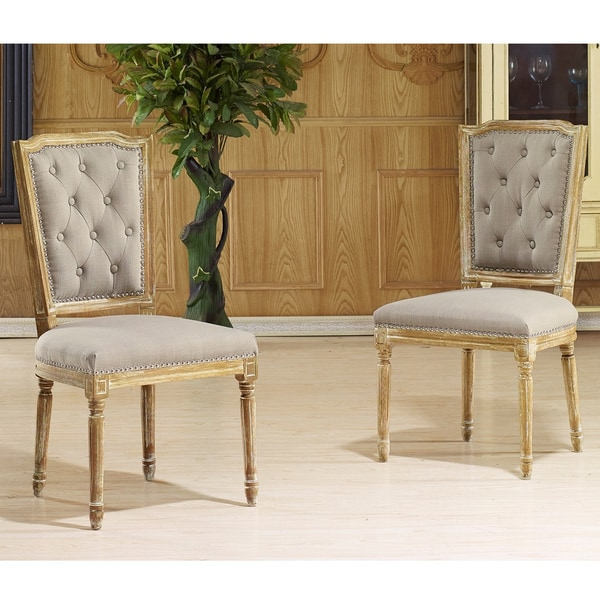 Baxton Studio Estelle Shabby Chic Rustic French Country Weathered Oak Beige Linen On Tufted Upho