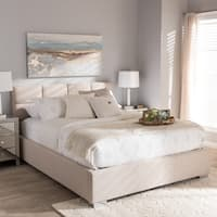 Baxton Studio Sophie Contemporary Beige Fabric Upholstered Platform Bed