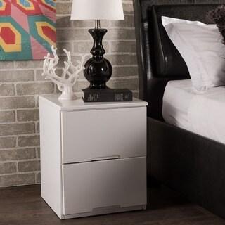 Baxton Studio Washington Contemporary White Wood 2-drawer Nightstand BedsideTable