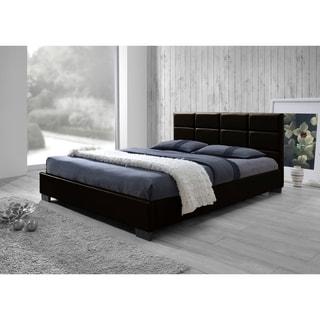 Baxton Studio Vivaldi Contemporary Dark Brown Faux Leather Padded Platform Base Bed