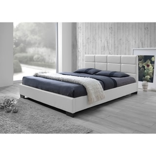 Baxton Studio Vivaldi Contemporary White Faux Leather Padded Platform Base Bed