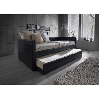 Baxton Studio Risom Contemporary Black Twin-size Platform Base Faux Leather Upholstered Daybed Bed Frame with Trundle