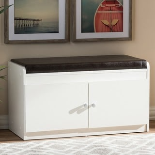Baxton Studio Margaret Contemporary White Wood 2-door Shoe Cabinet with Faux Leather Bench