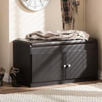 Baxton Studio Margaret Contemporary Dark Brown Wood 2-door Shoe Cabinet with Faux Leather Bench