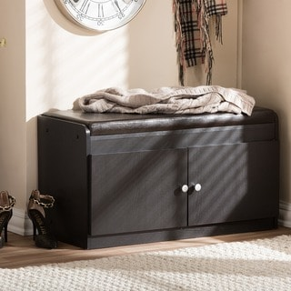 Baxton Studio Margaret Contemporary Dark Brown Wood 2 Door Shoe Cabinet  With Faux Leather Bench