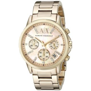 Armani Exchange Women's AX4327 'Smart' Chronograph Crystal Rose-Tone Stainless Steel Watch