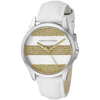 Armani Exchange Women's AX5240 'Smart' Crystal White Leather Watch