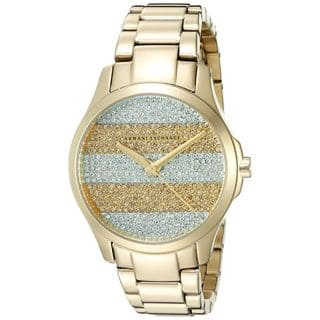 Armani Exchange Women's AX5243 'Smart' Crystal Gold-Tone Stainless Steel Watch https://ak1.ostkcdn.com/images/products/10609221/P17680679.jpg?impolicy=medium