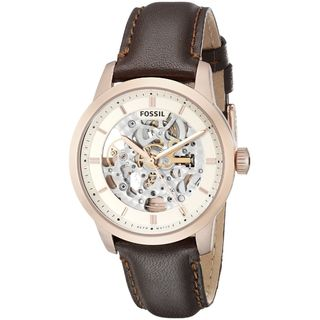 Fossil Men's ME3078 Townsman Skeleton Dial Brown Leather Automatic Watch