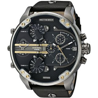 Diesel Men's DZ7348 'Mr. Daddy 2.0' Chronograph 4 Time Zones Black Leather Watch