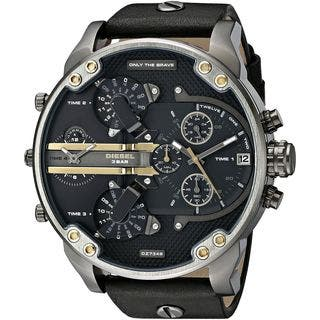 Diesel Men's DZ7348 'Mr. Daddy 2.0' Chronograph 4 Time Zones Black Leather Watch|https://ak1.ostkcdn.com/images/products/10609237/P17680690.jpg?impolicy=medium