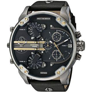 Diesel Men's DZ7348 'Mr. Daddy 2.0' Chronograph 4 Time Zones Black Leather Watch