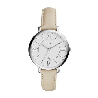 Fossil Women's ES3793 'Jacqueline' White Leather Slim Watch