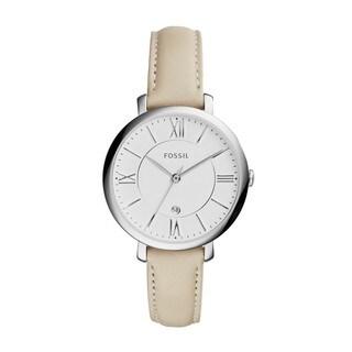 Fossil Women's ES3793 'Jacqueline' White Leather Slim Watch