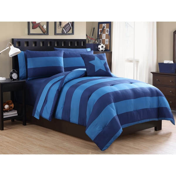 VCNY Rugby Stripe 10-Piece Bed-in-a-Bag with Sheet Set