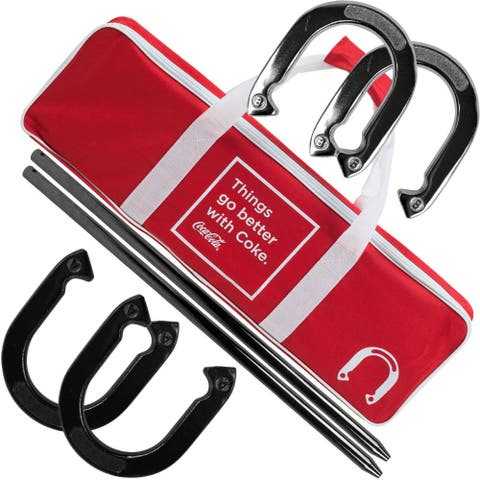 Coca Cola Horseshoe Set with Carry Case - Red - 25 x 8 x 2