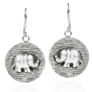 Thai Elephant Disc Thai Handmade Silver Dangle Earrings (Thailand)