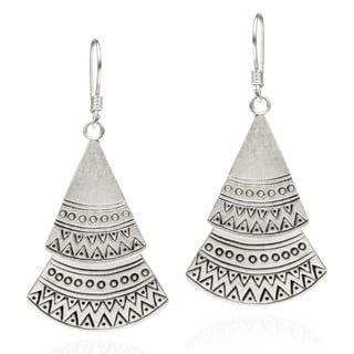 Tribal Tiered Swivel Triangle Karen Silver Earrings (Thailand)