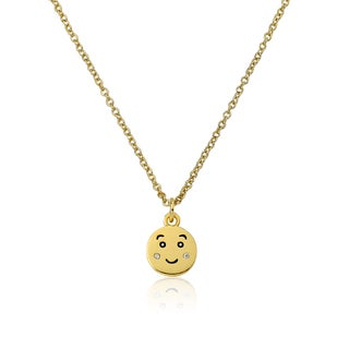 LMTS 14k Goldplated Blushing Smiley Face Emoji Cubic Zirconia Necklace