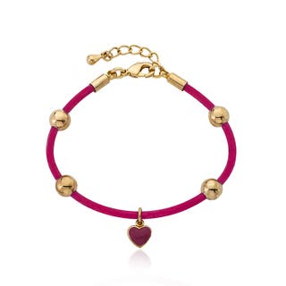 Little Miss Twin Stars Goldplated Rubber Charm Bangle|https://ak1.ostkcdn.com/images/products/10609454/P17680955.jpg?impolicy=medium