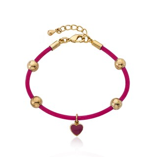 Little Miss Twin Stars Goldplated Rubber Charm Bangle (More options available)