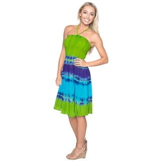 La Leela 3 in 1 Cover up Smocked HalterNeck/Maxi Skirt/BridesMaid Dress Green