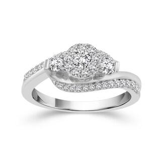 10k White Gold 5/8ct TDW Diamond Cluster 3-tone Ring