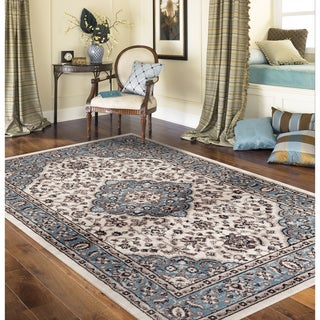 Traditional Oriental Medallion Design Blue Indoor Area Rug (5' 3 x 7'3)