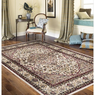 Traditional Oriental Persian Style Cream Indoor Area Rug (5' 3 x 7'3)