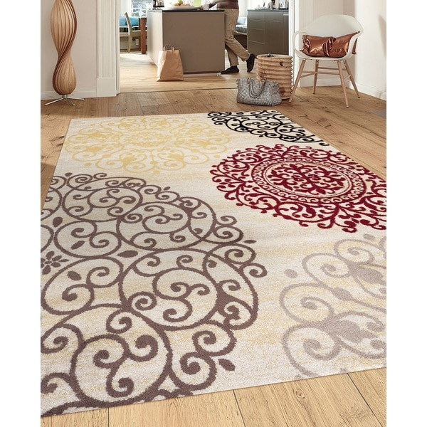 Contemporary Modern Floral Cream Indoor Area Rug (5' 3 x 7'3) - 5'3 x 7'3