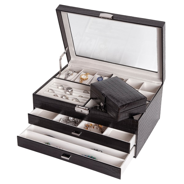 Mele Co Alana Black Croco Faux Leather Glass Top Locking Jewelry