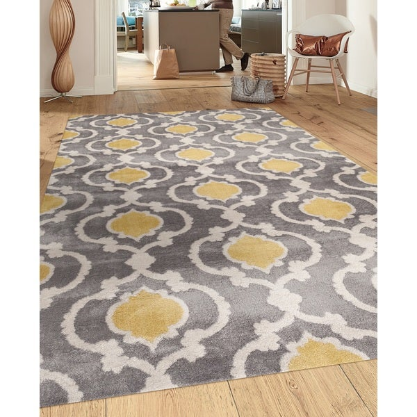 Moroccan Trellis Contemporary Gray/Yellow 5 Ft. 3 In. X 7