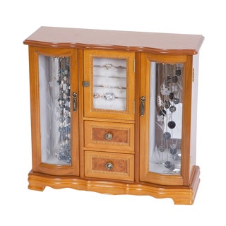 Mele Designs Lyra Burlwood Oak Glass Door Jewelry Box