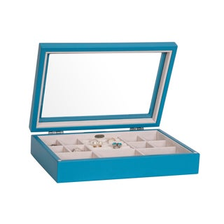 Mele & Co Cassidy Blue Glass Wooden Jewelry Box