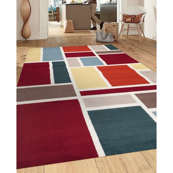 Contemporary Modern Boxes Design Multi 7 ft. 10 in. x 10 ft. 2 in. Indoor Area Rug - 7'10 x 10'2