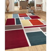 Contemporary Modern Boxes Design Multi Indoor Area Rug - 7'10 x 10'2