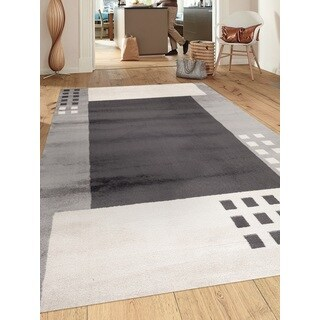 Contemporary Modern Boxes Design Gray 7 ft. 10 in. x 10 ft. 2 in. Indoor Area Rug