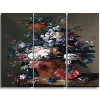 Design Art 'Jan van Huysum - Vase of Flowers 3' Canvas Art Print - 32Wx26H Inches - 3 Panels