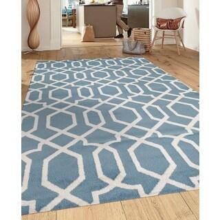 Contemporary Trellis Design Blue 3 ft. 3 in. x 5 ft. Indoor Area Rug