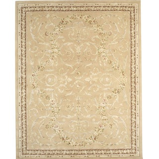 Chinese Florence Hand-tufted Wool and Silk Ivory/ Brown Oversized Rug (9'6 x 13'6)