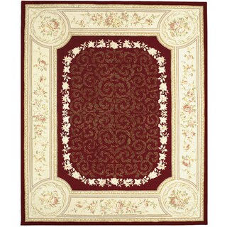 Chinese Florence Hand-tufted Wool and Silk Red/ Ivory Oversized Oriental Rug (9'6 x 13'6)