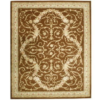 Chinese Florence Hand-tufted Wool and Silk Brown/ Ivory Oversized Rug (9'6 x 13'6)