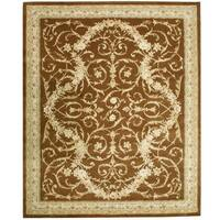 Chinese Florence Hand-tufted Wool and Silk Brown/ Ivory Area Rug (8'6 x 11'6)