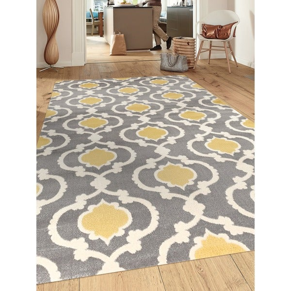 Moroccan Trellis Contemporary Gray Yellow 3 Ft 3 In X 5