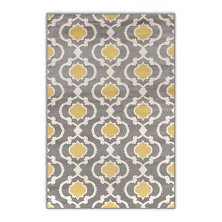 Moroccan Trellis Contemporary Gray Yellow 3 ft. 3 in. x 5 ft. Indoor Area Rug