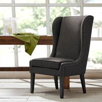 "Madison Park Sydney Charcoal Traditional Wing Dining Chair - 26.25""w x 28.5""d x 45.625""h"