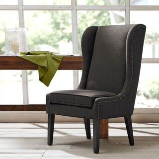 """Madison Park Sydney Charcoal Traditional Wing Dining Chair - 26.25""""w x 28.5""""d x 45.625""""h"""